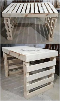 This is so innovative creation piece of the wood pallet where you will encounter the mesmerizing table artwork design. It might turn out to be li… – do pallet Pallet Table Outdoor, Wood Pallet Tables, Diy Pallet Furniture, Furniture Plans, Wood Pallets, Furniture Making, Wood Furniture, Pallet Wood, Pallet Couch