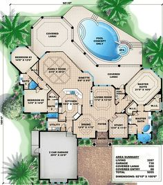 Plan House Plan With Great Outdoor Spaces - Architecture Dream House Plans, House Floor Plans, My Dream Home, The Plan, How To Plan, Mediterranean House Plans, House Blueprints, Sims House, Florida Home