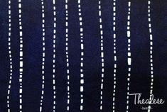 Shibori/Deep Indigo/Cotton Fabric/Rain/White drop/Line/Table cloth/Blue/Vintage/Natural hand dyed/Plant dye/Clothing/Tie dye/China/Thealese