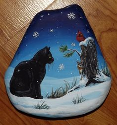 Hand Painted River Rock Black Cat Chipmunk Cardinal Christmas Painting Witch   eBay