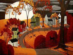 Autumn Landscape - Folk Art Painting   -  Colors:  Orange, Green, Red, White, Black, Gray