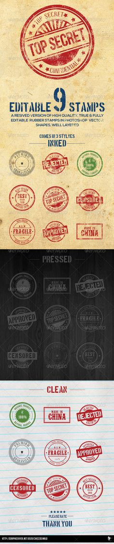 9 Editable Photoshop Rubber Stamps  - PSD Template • Only available here ➝ http://graphicriver.net/item/9-editable-photoshop-rubber-stamps/5927832?ref=pxcr