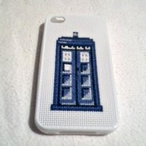 Up for sale is a large Doctor Who inspired TARDIS Police Box cross stitch, set on a white, silicone iPhone 4 or 4S case.   The case is made to fit snugly on your iPhone, with openings for your camera and ports. This Doctor Who iPhone case is NOT water resistant, it is for decorative purposes on...