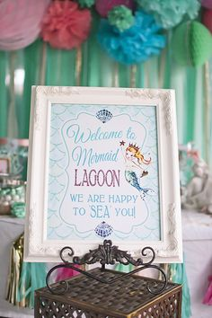 Welcome sign from Littlest Mermaid 1st Birthday Party at Kara's Party Ideas. See more at karaspartyideas.com! #mermaidprintable