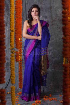 Indigo Blue Blended Cotton Saree With Panel Border