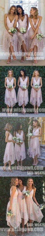 Popular Unique Pretty Lace V Neck Pink High Low Short Bridesmaid Dresses, WG476 #bridesmaids #bridesmaidsdress #wedding #weddingparty #weddingpartydress #shortbridesmaidsdress #weddingdress