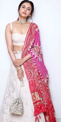 Rakul Preet: Rakul Preet in White Dress with Cute and Awesome Lovely Smile Indian Gowns Dresses, Indian Fashion Dresses, Indian Designer Outfits, Mode Bollywood, Bollywood Fashion, Indian Wedding Outfits, Indian Outfits, Wedding Gowns, Lehenga Indien