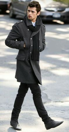 Men's classic Fashion. Grey color skinny jeans, coat & scarf.
