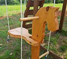 Wooden Pony Swing by FigginsFamilyCrafts on Etsy Wooden Swing Chair, Wooden Swings, Swinging Chair, Bench Swing, Woodworking For Kids, Woodworking Projects, Horse Swing, Kids Wood, Backyard For Kids