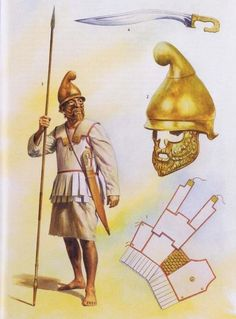 Carthaginian infantryman first and second Punic Wars period. Note the Thracian (Bulgarian/Romanian) helmet Carthage, Military Art, Military History, Greek Soldier, Alexandre Le Grand, Punic Wars, Ancient Armor, Rome Antique, Greek Warrior