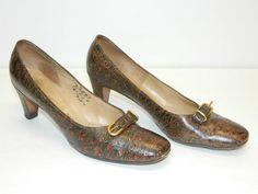 Antique Ostrich Calf Shoes Womens Size 9 Vintage High Heal Retro Dress Shoes