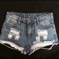 High waisted distressed Denim short with lace High waisted denim shorts with lace detailing. Suze says M fits like a S. Tape measure pics added to ensure the right fit for u. Make sure to measure around belly button area. :) Pants