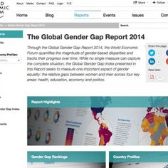 'Through the Global Gender Gap Report 2014, the World Economic Forum quantifies the magnitude of gender-based disparities and tracks their progress over time. While no single measure can capture the complete situation, the Global Gender Gap Index presented in this Report seeks to measure one important aspect of gender equality: the relative gaps between women and men across four key areas: health, education, economy and politics.'