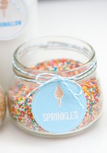ice cream toppings served in small mason jars (mix with the myriad of jars/bowls I already have)