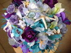 Beach Wedding Seashell Lavender and Purple by VictoriaGreenFlowers