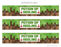 Free Minecraft Water Bottle Labels | CatchMyParty.com