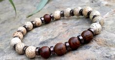 Spiritual Mens Mala Bracelet, Lotus Seed & Wood Jasper Men's Bracelet, Meditation Bracelet, Yoga, Mala, Japa, Energy Bracelet, Gift for Him by Braceletshomme