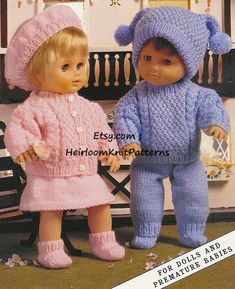 ** Instant Download Knitting Pattern PDF - 400 ** Offering a vintage pattern to make 2 Adorable Baby Doll Outfits. Also fits premature baby. Girls outfit includes: Cardigan, Skirt, Beret and Socks. Boys outfit: Sweater, Trousers, Hat and Socks. Instructions are given for 3 sizes. TO FIT DOLL HEIGHT: Knitting Dolls Clothes, Baby Doll Clothes, Crochet Doll Clothes, Knitted Dolls, Doll Clothes Patterns, Crochet Dolls, Doll Patterns, Knitting Toys, Barbie Clothes