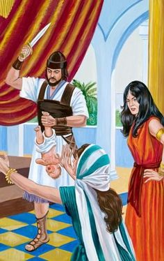 Two women alongside one of Solomon's men who holds a baby and a sword | My Book of Bible Stories | Tags: Jehovah's Witnesses, The Watchtower Bible and Tract Society
