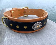 Wide Leather Dog Collar Large Dog Collar 2 inch by HiHorseRanch