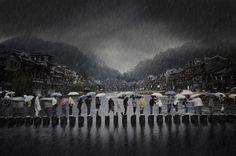 Chen Li (Cina) Rain in an ancient town, Cina, categoria open.