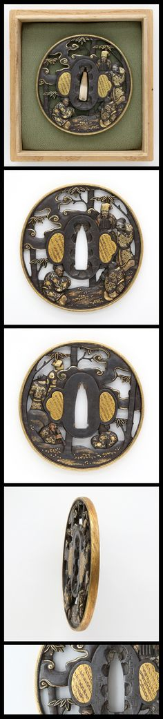 Edo 4 sages engraved openwork on round shape iron Tsuba inlaid with gold color