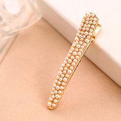 Jiayi kvinders bore skinnende perler kant klip hårnål – DKK kr. 15