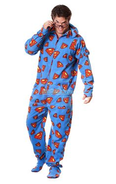 Official SUPERMAN Footed Hooded Pajamas! Loaded with extras featuring: Hoodies, thumb holes, logo zipper pull, front kangaroo pockets and even a left shoulder pocket perfect for your IPhone ready to rock out when you are. TM & © DC Comics.  (s12) $64.99