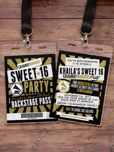 Hollywood cumpleaños, Sweet 16, VIP PASS, pase backstage, invitación Vip, invitación cumpleaños, estrella del pop, Rock Star, brillo