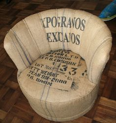 upholstered chair in coffee sacks