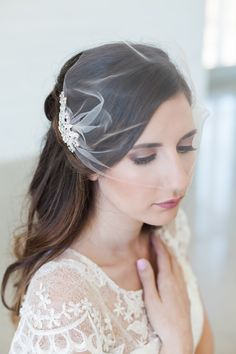 Birdcage veil, Blusher veil, Tulle Bridal Veil and Bridal Comb, Bandeau Birdcage Veil - QUICK SHIPPER - Wedding Veil with Crystal Comb by GildedShadows on Etsy https://www.etsy.com/listing/259028639/birdcage-veil-blusher-veil-tulle-bridal