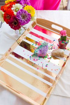 loving this gold serving tray.