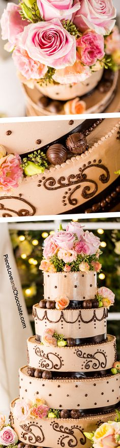 A lovely Piece, Love & Chocolate wedding cake featuring milk chocolate cake with dark chocolate accents. The cake is garnished with fresh roses and tons of PL&C signature dark chocolate truffles! #wedding #weddingcake #chocolate #roses #truffles #delicate #delicious
