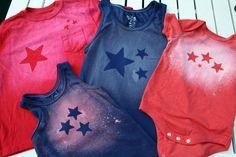Sterren op je kleding met chloorbleek en glow-in-the-dark-sterren.