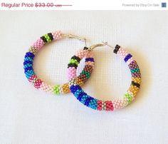CHRISTMAS SALE Beaded colorful stripes hoop earrings  by lutita