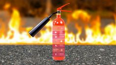 Fire safety creative Prezi presentation template flames and extinguisher background