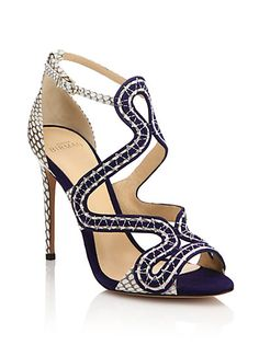 Suede   Cobra Sandals by Alexandre Birman. Suede and cobra fashion  loop-caged silhouetteSelf-covered heel 2d182af87e3