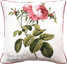 Cushion 50x50cm Rosa centifolia, woven jacquard. Made in France by Tissage Art de lys