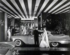 A 1957 Cadillac at the Beverly Hills Hotel in Beverly Hills, California.