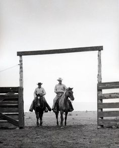Cowboys ride into corrals - Bell Ranch - New Mexico                                                                                                                                                                                 More