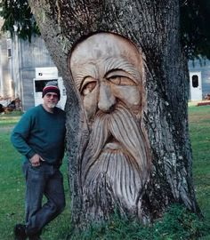 This is my first chainsawed wood spirit in a live tree.