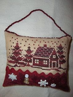 Christmas freebie- my finish        (...cr....go to my board for small charts and this one is a freebie on it.....love the burgundy)