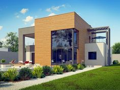 this is another house plan that shows how a family can live in two storey house. the house facade is modern and contemporary, build on flat terrain, with a swimming pool outside and wonderful. 2 Storey House, Duplex Design, One Story Homes, Facade House, House 2, Home Fashion, Home Projects, Swimming Pools, House Plans