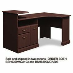 Expandable Corner Desk Solution (B/F/D) Box 1 of 2 Syndicate Mocha Che by Bush. $440.53. Durable melamine surfaces are dent- and scratch-resistant. Box/file pedestal with open storage area and enclosed CPU compartment. Drawers operate on full-extension ball bearing slides; file drawer accommodates letter and legal size files. Elevated printer shelf. Integrated 4-port USB hub and charging station for portable devices. Color: Mocha Cherry; Pedestal Count: 1; Top Shape: Corner.