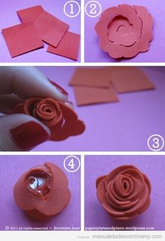 Mother's Day is hours away, but there's still lots of time to make these beautiful foam roses in minutes. They're much more dainty than the no-fuss paper roses I made for Valenti… Foam Sheet Crafts, Foam Crafts, Crafts To Do, Crafts For Kids, Craft Foam, Crafts With Foam Sheets, Paper Crafts, Cloth Flowers, Felt Flowers