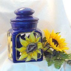 Ceramic Sunflower Lantern by GrapevineCeramicsGft Blue Candles, Candle Lanterns, Ceramic Lantern, Blue Yellow, Orange, Light Up, Recycling, Perfume Bottles, Jar