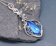 Buy pendant in sterling silver . Pendant with quartz. wire wrap on Livemaster online shop