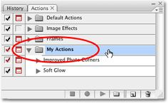 Selecting the 'My Actions' set inside the Actions palette in Photoshop. Image copyright © 2008 Photoshop Essentials.com