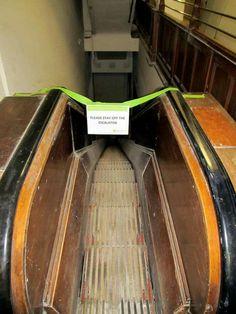 Old Eaton's wooden escalator downtown Toronto Toronto Pictures, Eaton Centre, Toronto Ontario Canada, Hamilton Ontario, Downtown Toronto, Historical Architecture, Back In The Day, Abandoned Places, History