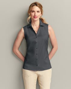 Wrinkle-free Sleeveless Shirt - Solid | Eddie Bauer
